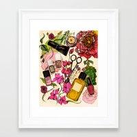 nail polish Framed Art Prints featuring Nail polish and peonies  by Felicia Atanasiu