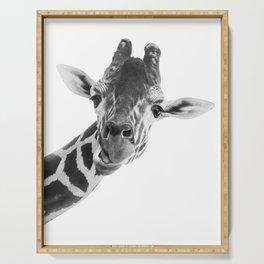 Giraffe Portrait // Grey Wild Animal Cute Zoo Safari Madagascar Wildlife Nursery Decor Ideas Serving Tray