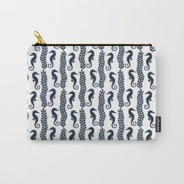 Navy blue and white maritime seahorse pattern Carry-All Pouch