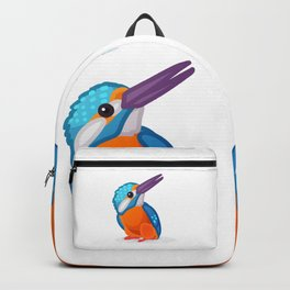 Kingfisher bird. Vector graphic character Backpack