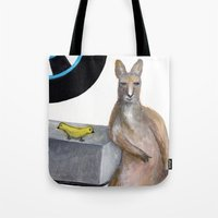 kangaroo Tote Bags featuring Kangaroo by Big AL