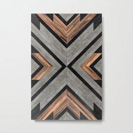 Urban Tribal Pattern No.2 - Concrete and Wood Metal Print