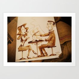 The Artist and his Model - Coffee Art Art Print