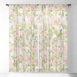 Vintage & Shabby Chic - Summer Rose Flowers Garden Sheer Curtain