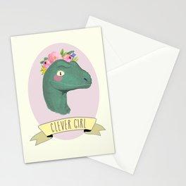 Clever Girl Dinosaur / Jurassic Park / Gift for Her / Boho Baby Animal Nursery Decor / Feminist Stationery Cards