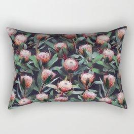 Evening Proteas - Pink on Charcoal Rectangular Pillow