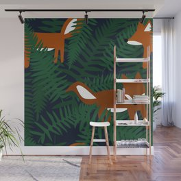 Foxes and Ferns Wall Mural