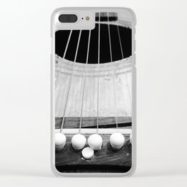 Wooden Acoustic Guitar in Black and White Clear iPhone Case