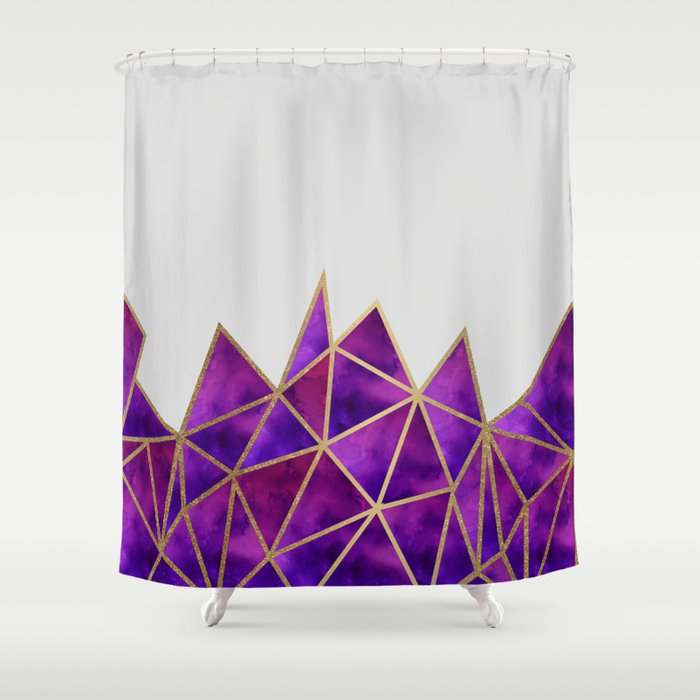 Purple Gold Geometric Shower Curtain