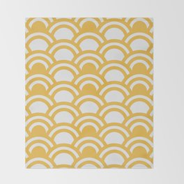 Yellow & White Half Circle Pattern Throw Blanket