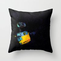 wall e Throw Pillows featuring Wall-E by Tanis Ketra