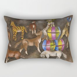 Horses and Ponies at Play portrait painting by María Izquierdo Rectangular Pillow