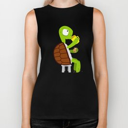 Turtle drinking tea with cookies. Biker Tank