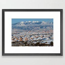 Snowy La Sal Mountains from Arches National Park Framed Art Print