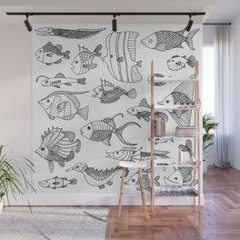 Arrangement of doodle fish Wall Mural