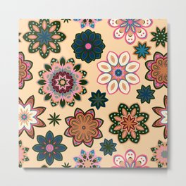 Flower retro pattern. Green pink flowers on beige background. Metal Print