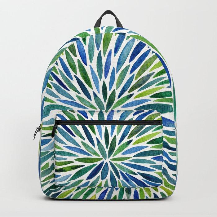 Watercolor Burst – Blue & Green Backpack