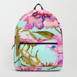 Flowery nature and golden butterfly Backpack