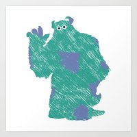 monster inc Art Prints featuring MONSTER INC. : SULLEY by DrakenStuff+