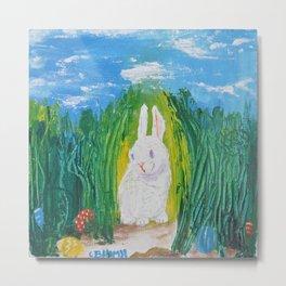 Easter Bunny hiding it's eggs Metal Print