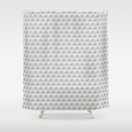 Faux White Leather Buttoned Shower Curtain