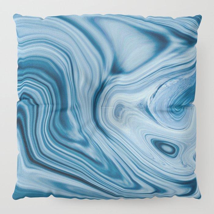 Splash of Blue Swirls, Digital Fluid Art Graphic Design Floor Pillow