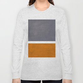 Grey Yellow Ochre Rothko Minimalist Mid Century Abstract Color Field Squares Long Sleeve T-shirt