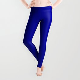 Simple Solid Color Earth Blue All Over Print Leggings