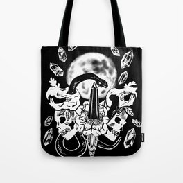 Snakes, Crystals, & A Full Moon Gothic Witchy Tote Bag