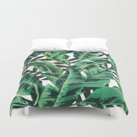 nature Duvet Covers featuring Tropical Glam Banana Leaf Print by Nikki