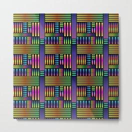 90's Neon Ombre Stripes Metal Print