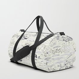 Chinoiserie pattern with dragons, bats, pagodas Duffle Bag