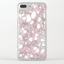 Blush Pink and White Graphic Spilled Ink and Paint Bubbles Clear iPhone Case
