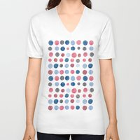 polka dots V-neck T-shirts featuring polka dots by Asja Boros Designs