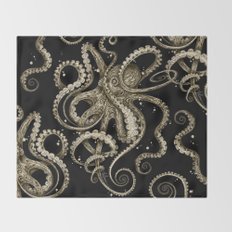 Octopsychedelia Sepia Throw Blanket
