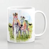zebra Mugs featuring Zebra by Anna Shell