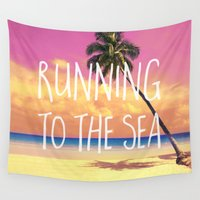 bikini Wall Tapestries featuring Running to the Sea by Text Guy