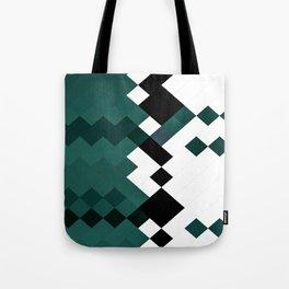 Emerald Green White Black Geometrical Pattern Tote Bag