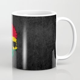 Flag of Ghana on a Chaotic Splatter Skull Coffee Mug