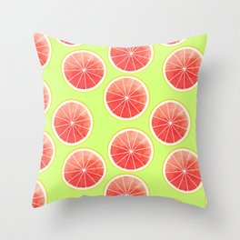 Pink Grapefruit Slices Pattern Throw Pillow