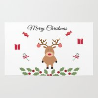 merry christmas Area & Throw Rugs featuring Merry Christmas by haroulita