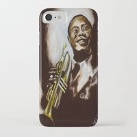 louis armstrong iPhone & iPod Cases featuring Satchmo - Louis Armstrong by Nicole Kallenberg