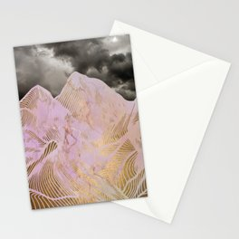 Pink Marple Mountains Stationery Cards