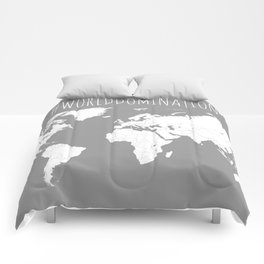 #WorldDomination World Map in Grey for Sales or Travel Comforters