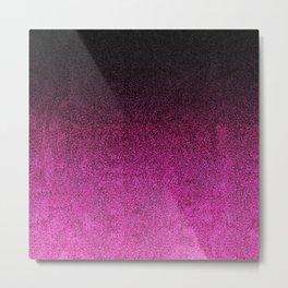 Pink & Black Glitter Gradient Metal Print