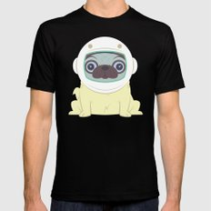 Pug in Space MEDIUM Black Mens Fitted Tee