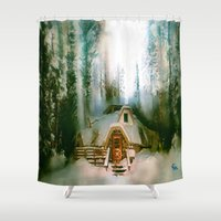the hobbit Shower Curtains featuring HOBBIT HOUSE by FOXART  - JAY PATRICK FOX