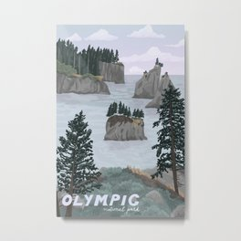 Olympic National Park Poster, Washington, illustrated National Parks USA Metal Print