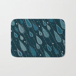 Dark Cyan Rain Drops Bath Mat