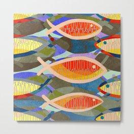 Fish Tale (Gold) Metal Print